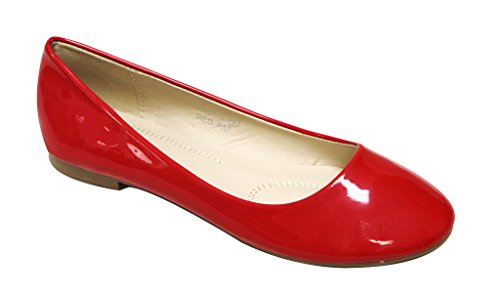 Bella Marie Stacy-11 Women's round toe patent leather slip on boat ballet flat shoes Red 8.5 (Red Ballet Flats For Women compare prices)