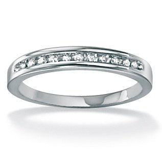 PalmBeach Jewelry Platinum over Sterling Silver Diamond Anniversary Ring