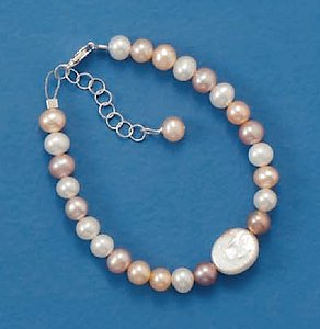 5mm Round/10x8mm Coin Cultured Pearl Sterling Silver Bracelet, 5 + 1 in Ext long, Child-Size