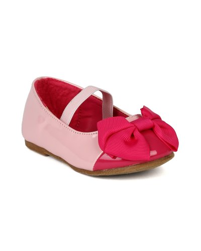 Jelly Beans Epubla Patent Capped Toe Ballet Flat W/ Ribbon Bow And Mary Jane Elastic Band(Toddler) - Pink Multi (Size: Toddler 4)