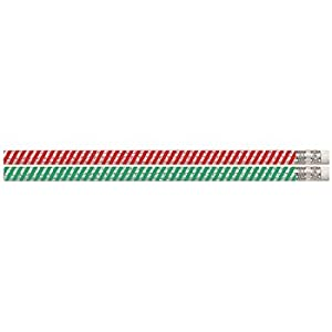 D1070 Candy Cane Glitters - 12 Striped Christmas Pencils