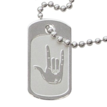 LDS Unisex Steel Silver Finish I Love You Sign Language Dog Tag Necklace on a 24