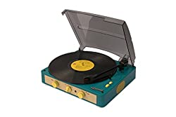 Gadhouse Brad Vintage Record Player 3-speed Turntable Built in Bluetooth Stereo Speakers Headphone Jack Aux Input for Smartphone RCA Line Out Jacks (Retro Green)