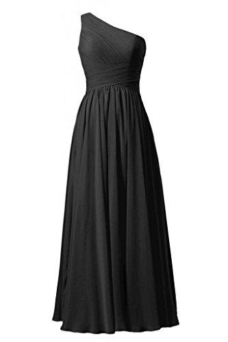 Daisyformals Vintage Floor Length One Shoulder Chiffon Bridesmaid Dress(Bm351L)- Black