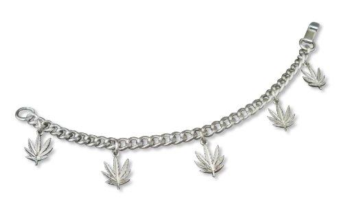 Marijuana Pot Leaf Charm Bracelet Silver Finish Fashion Jewelry