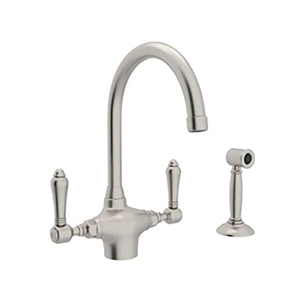 Rohl A1676LMWSSTN-2 Country Kitchen Single Hole Faucet with Metal Levers Sidespray and C Spout, Satin Nickel