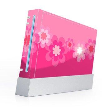 Nintendo Wii Skin + nunchuck skin Skin-Retro Flowers Pink
