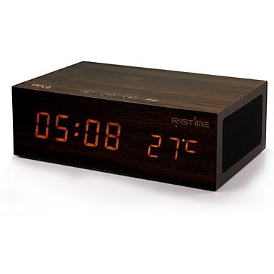 Zcl Home Time Wooden Bluetooth Clock Speaker Subwoofer With Mobile Phone Usb Battery Charging , Brown