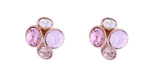 Ted Baker Lynda Gold and Pink Jewel Cluster Stud Earring