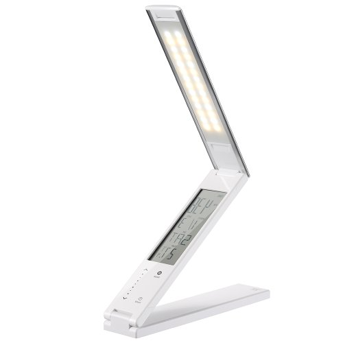 Portable Folding Led Desk Lamp - Rechargeable Reading Lamp With Calendar, Alarm Clock, 3 Lighting Modes (Cold, Warm And Natural) - Em206