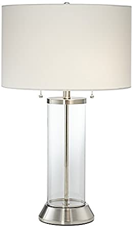 Fritz Glass Column Table Lamp With USB Port
