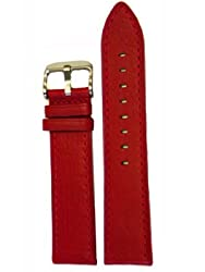 Watch Band Red Genuine Leather Stitched 16 millimeter Tech Swiss