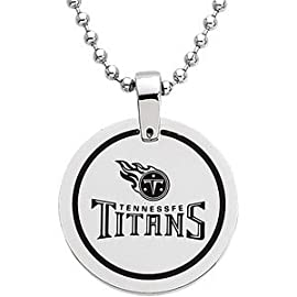Stainless Steel 28.00mm Tennessee Titans Team Name & Logo Disc W Chain
