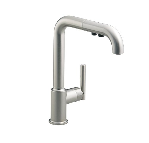 KOHLER K-7505-VS Purist Primary Pullout Kitchen Faucet, Vibrant Stainless