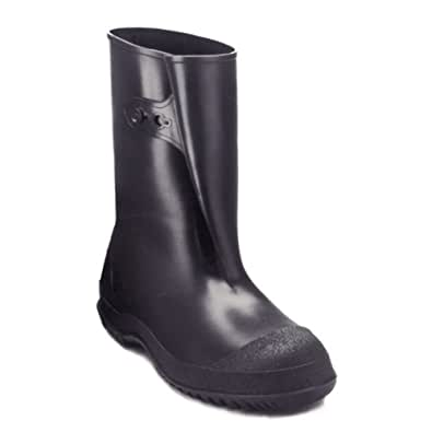 Tingley Rubber 35121 WorkBrutes PVC 10-Inch Overshoe with Button, Large, Black