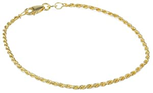 18k Yellow Gold Plated Sterling Silver 040-Gauge Diamond Cut Rope Chain Bracelet, 7.25
