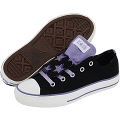b1b8531d914559 Converse  CT DBL TNG OX  Black  Purple Shoes Sneakers Girls Junior s Size 5