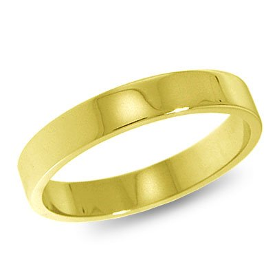 10K Yellow Gold, Flat Wedding Band 3MM (sz 14.5)