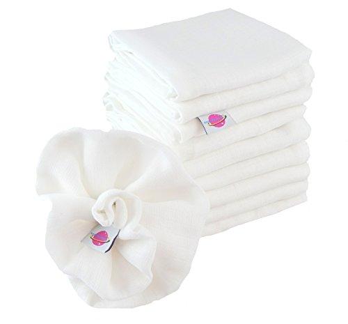 Babymajawelt 9999 Mullwindeln, kochfest, Spucktücher,10er Pack, 80 x 80 cm, weiß