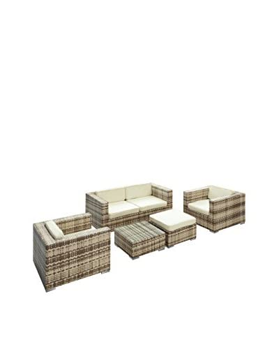 Modway Malibu 5-Piece Outdoor Patio Sofa Set, Sepia/White