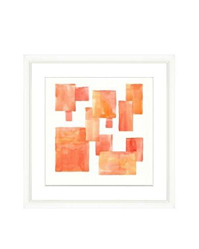Orange Square Grid Original Watercolor Painting