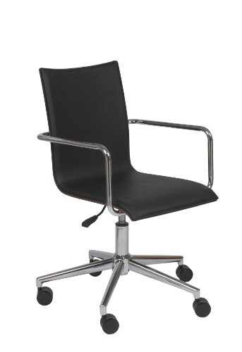 Best Euro Style Madge Office Chair BlackWalnutChrome