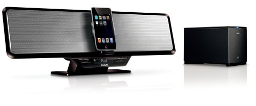 Philips Dc912/37 Shelf Bar 100-Watt Audio System With Wireless Subwoofer For Ipod (Black/Silver)