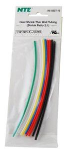 Nte Heat Shrink 2:1 Assorted Colors 1/16 X 6 10 Pcs.
