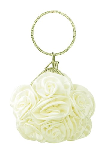 Chicastic Satin Rosette Bridal Bridesmaid Wristlet Clutch Bag Purse with Rhinestone Studded Ring Handle - Ivory