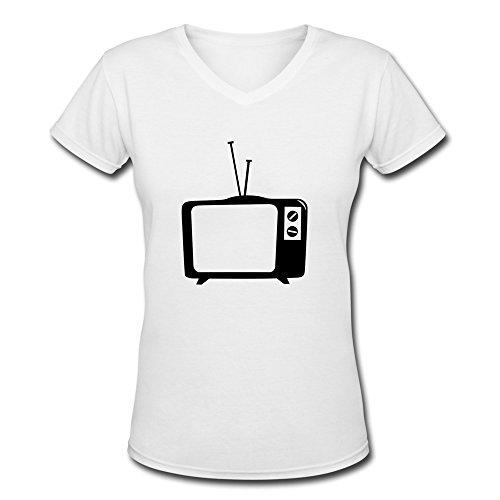 Tasy V-Neck Women'S Tv Tv Telly Flat Tv Led Screen Tube Retro T-Shirt - L White