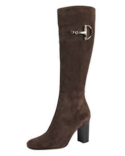 Gucci Suede Horsebit Heel Knee Boots 217204