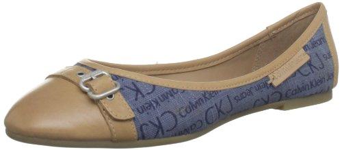 Calvin Klein Jeans  URSULA WASHED CANVAS LOGO/VACCHETTA,  Ballerine donna, Blu (Blau (BSD)), 35