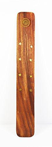 Madera de fresno de madera restos de papel y no, Gold Stars y varios símbolos dorado, a la vez que para varilla de incienso de duración, con sartén honda y de madera de fresno Tanteador para dejar pasar el, 25 x 4 cm aprox