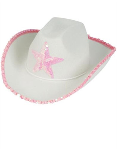 Country Girls White Pink Cowboy Cow Boy Hat Sequin Star