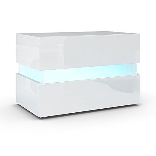 Nachttisch-Nachtkonsole-Flow-Korpus-in-Wei-Hochglanz-Front-in-Wei-Hochglanz-inkl-LED-Beleuchtung