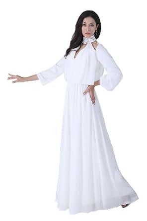 Graceful Women's Long Sleeves Cut Out Maxi Chiffon Semi ...