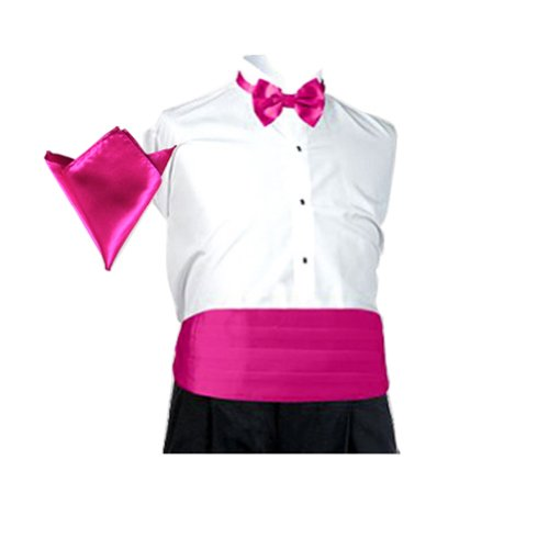 Hde Solid Color Poly Satin Tuxedo Accessory Set - Matching Pre-Tied Bow Tie, Cummerbund & Pocket Square (Fuchsia)