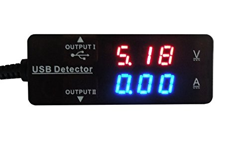 Lightningkid Dual Usb Output Charger Voltage Ampere Current Meter 5V Red/Blue Led For Usb Output, Charging And Data Sync - Usb Power Monitor Usb Current Monitor Usb Charging Tester And Usb Monitor Adapter