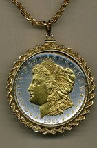 "Old Morgan Silver Dollar Limited Edition Two Tone Rope Edge Coin Pendant with 24"" Chain"