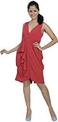 W M Couture Women's V Neck Dress (Y9A3822_M, Red, M)