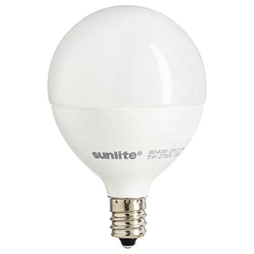 Sunlite G16.5/LED/7W/D/E12/FR/27K LED 60 Watt Equivalent G16.5 Globe Light Bulb Candelabra  Base Frost Dimmable 2700K Warm White