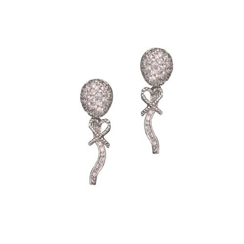 C.Z. LONG RHODIUM PLATED (.925) STERLING SILVER EARRINGS (Nice Holiday Gift, Special Black Firday Sale)