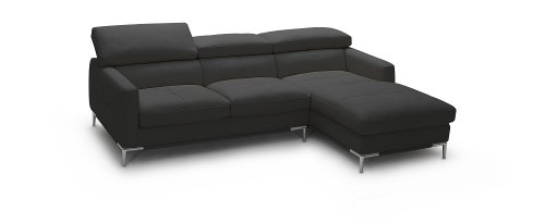 J&M Furniture 1281B Black Colored Italian Leather Sectional Sofa With Adjustable Headrests - Right Arm Facing