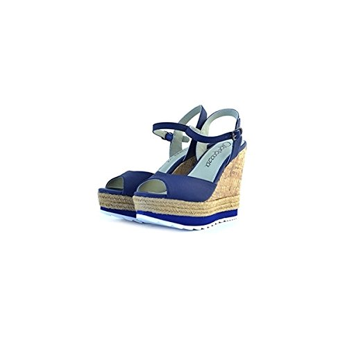 Sandali Apepazza in pelle blu, foderate internamente in pelle, 36