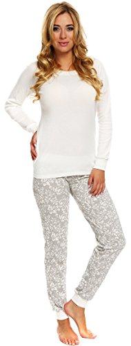 Italian Fashion IF Damen Schlafanzug Kelly 0223 (Ecru/Grau, L)