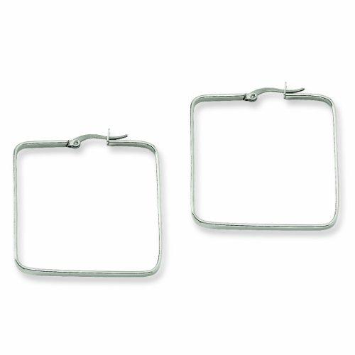 Genuine Chisel (TM) Earrings. Stainless Steel 38mm Square Hoop Earrings. 100% Satisfaction Guaranteed.