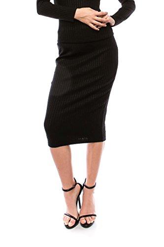 VIRGIN ONLY Women's Ribbed Midi Skirt (077 Black, Size L)