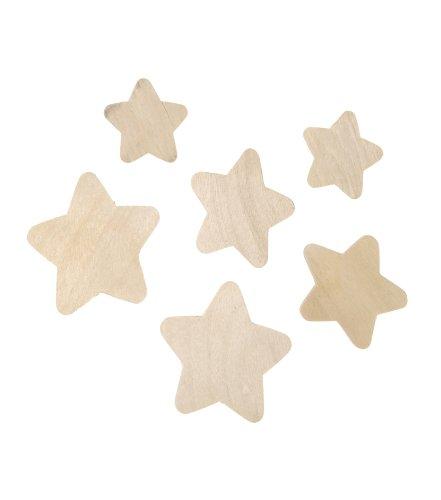 Darice 9162-22 Wood Star Assorted, Natural