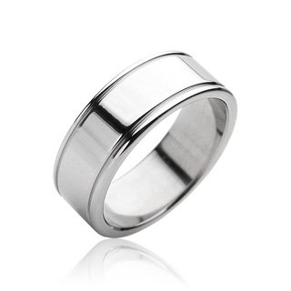 Basic Ring Wedding Band Ring Stainless Steel 8mm Comfort Fit (Size 11)