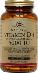 Solgar Vitamin D3 Cholecalciferol 5000 IU Vegetable Capsules, 240 Count